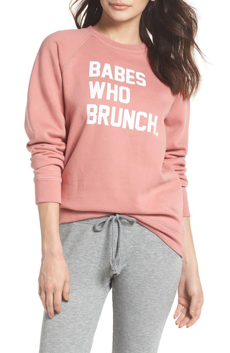 BRUNETTE THE LABEL Babes Who Brunch Sweatshirt, Main, color, 955