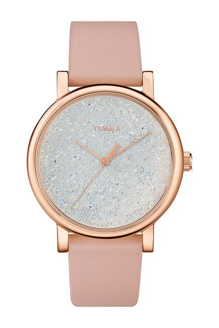 Image of TIMEX Women's Spring Crystal Leather Strap Watch, 38mm