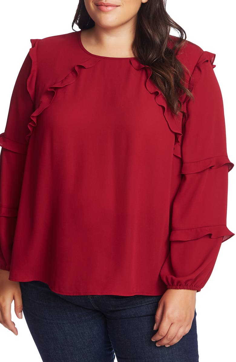 CECE Tiered Ruffle Blouse, Main, color, ANTIQUE RUBY