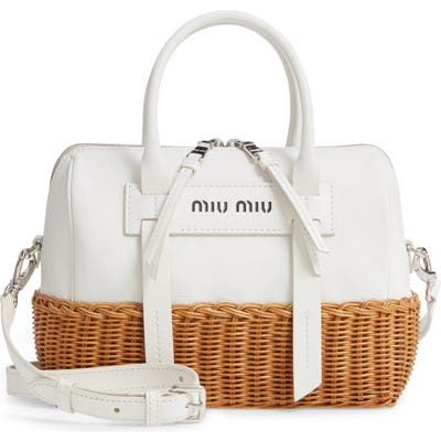 Miu Miu Midollino Leather & Rattan Satchel - White