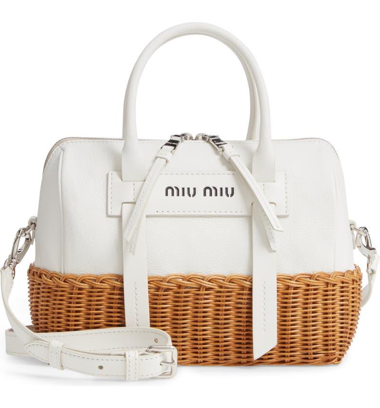 MIU MIU Midollino Leather & Rattan Satchel, Main, color, 100
