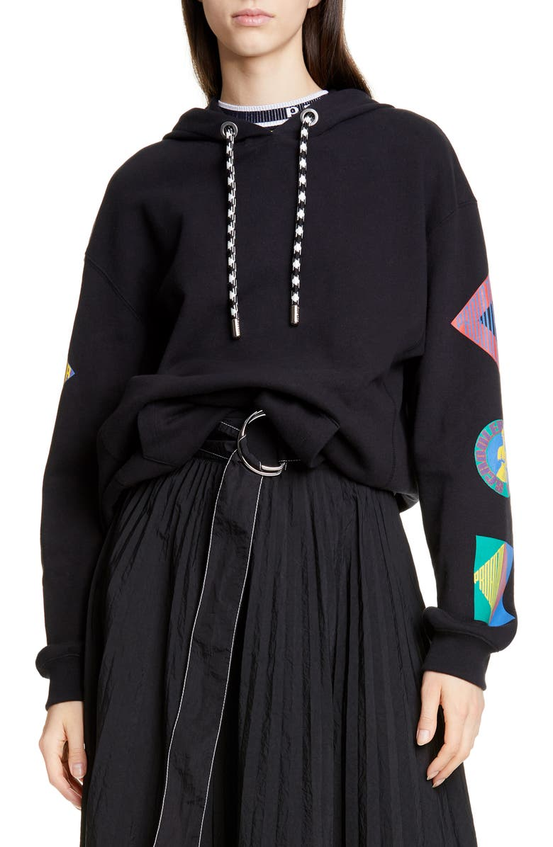 PROENZA SCHOULER WHITE LABEL Proenza Schouler PSWL Graphic Sleeve Hoodie, Main, color, BLACK MULTI LOGO
