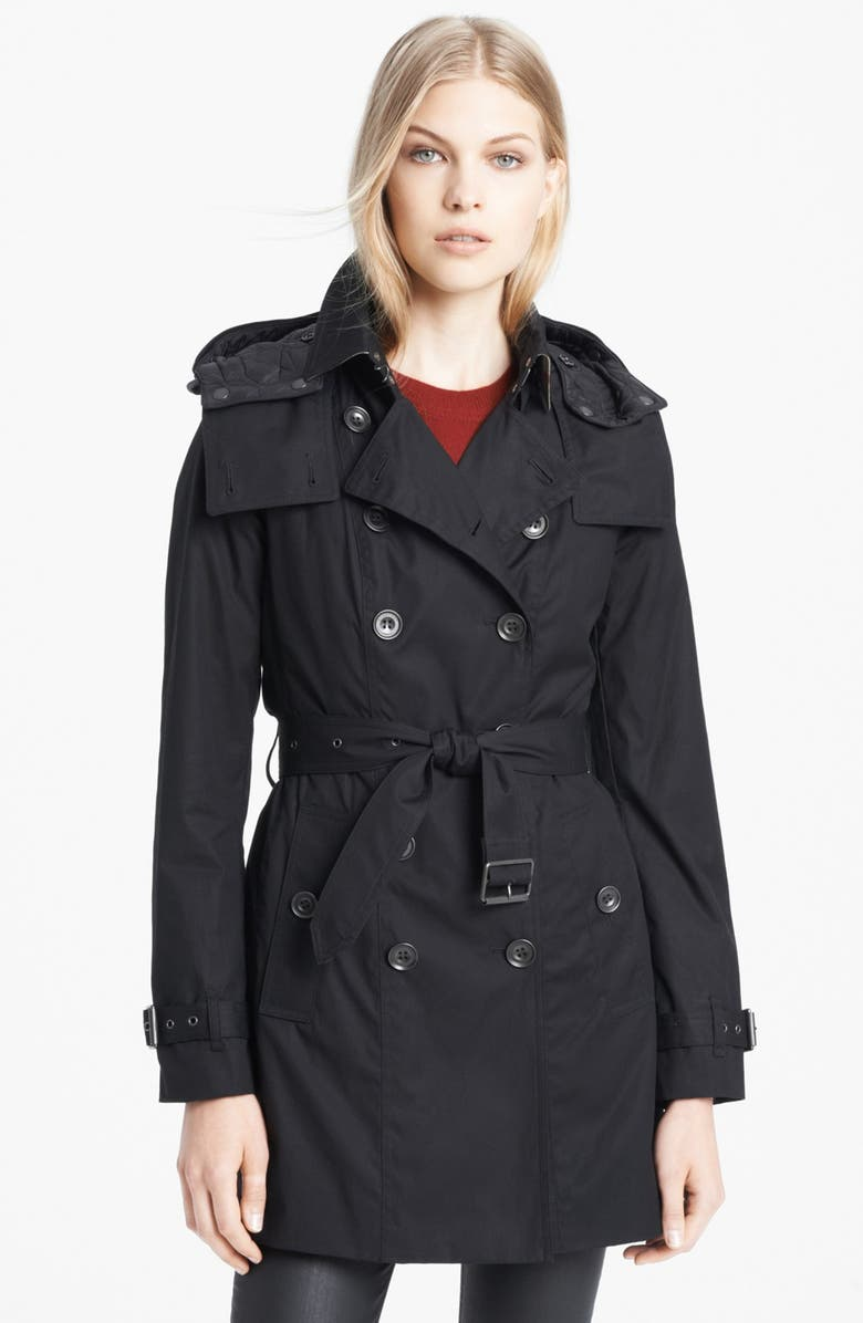 BURBERRY BRIT 'Reymoore' Trench Coat with Detachable Hood & Liner, Main, color, 001