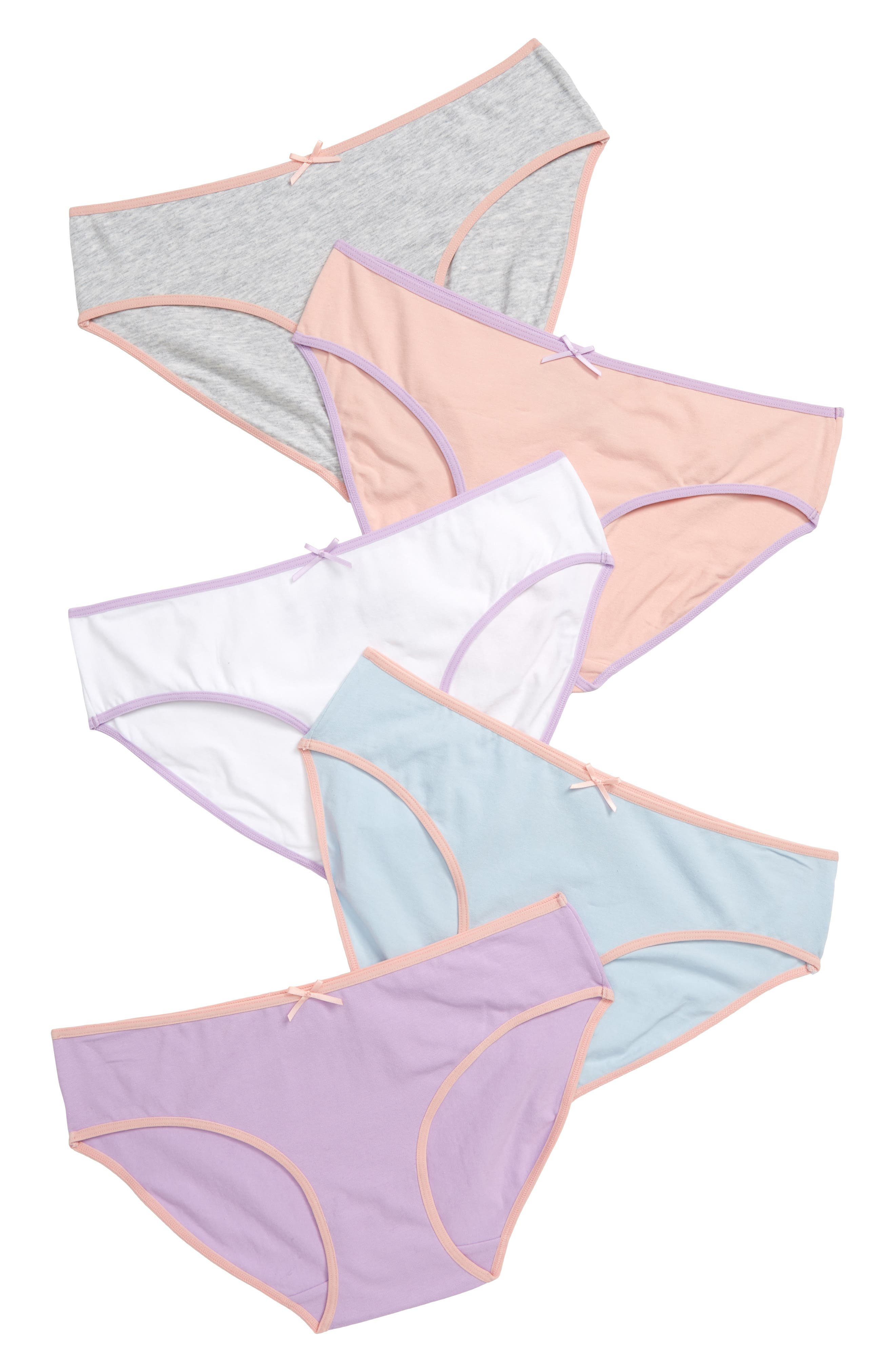 A variety pack of hipsters is cut from stretchy cotton in a mix of solids and patterns. Style Name: Tucker + Tate Kids\\\' 5-Pack Hipster Briefs (Toddler Girls, Little Girls & Big Girls). Style Number: 537377. Available in stores.