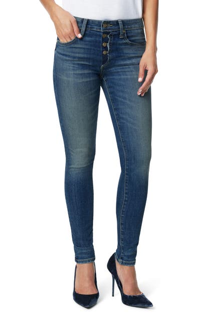 Joe's Jeans THE CHARLIE EXPOSED BUTTON HIGH ANKLE SKINNY JEANS