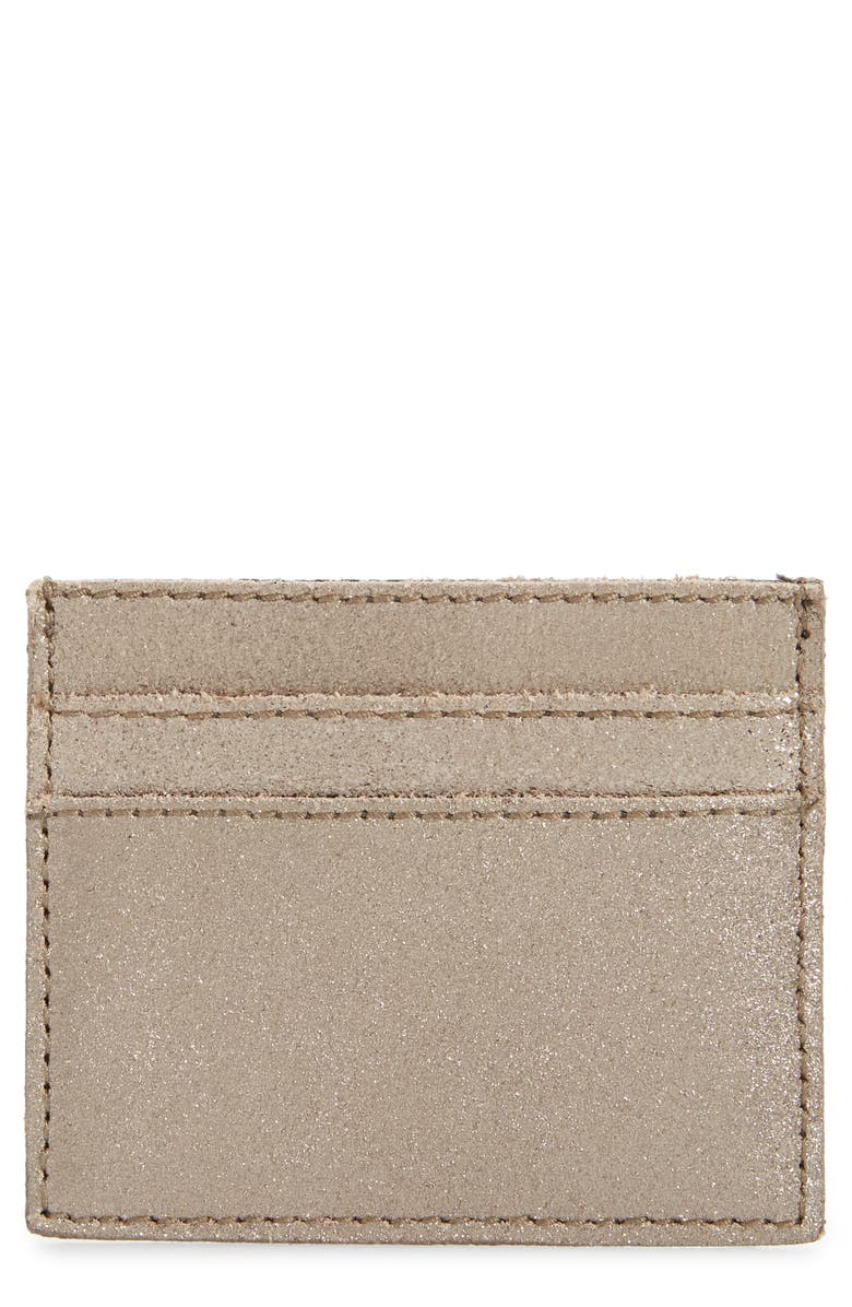 MADEWELL The Metallic Gold Leather Card Case, Main, color, METALLIC SAND
