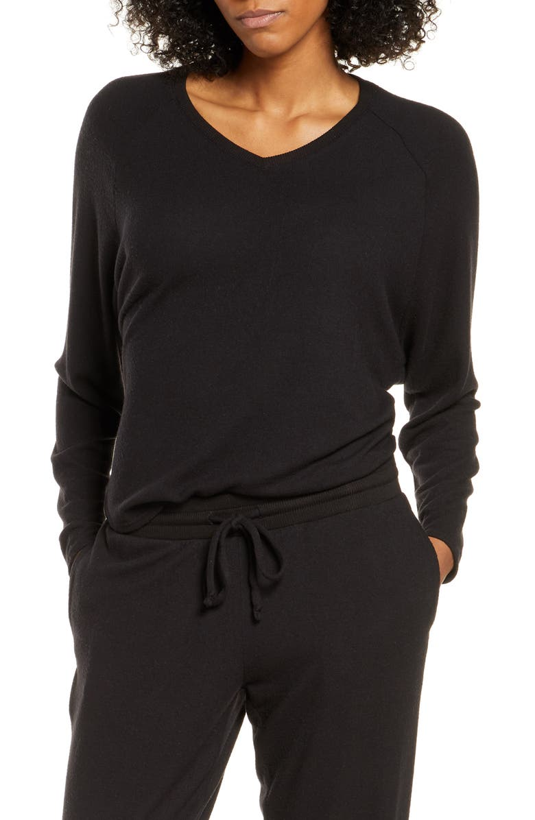 NORDSTROM Relaxed Lounge Sweater, Main, color, BLACK