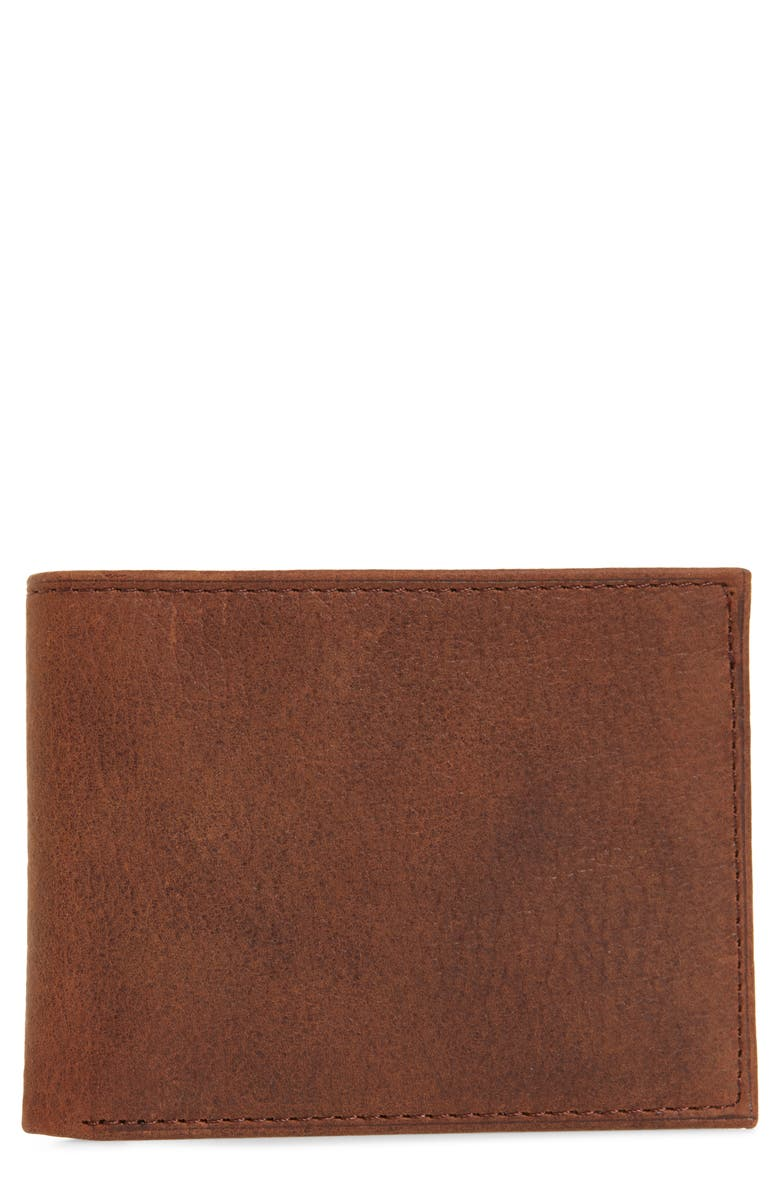 JOHNSTON & MURPHY Leather Slimfold Wallet, Main, color, WHISKEY MILLED LEATHER