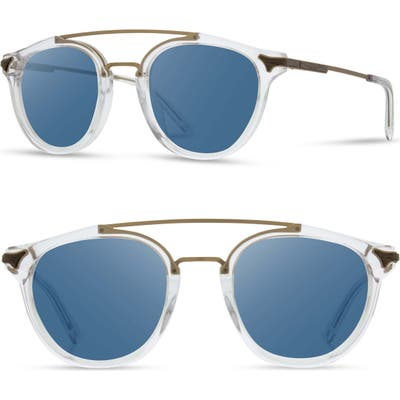 Shwood Kinsrow 4m Acetate & Wood Sunglasses - Crystal/ Gold/ Blue