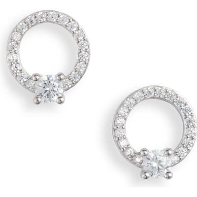 Nordstrom Pave Open Circle Cubic Zirconia Stud Earrings