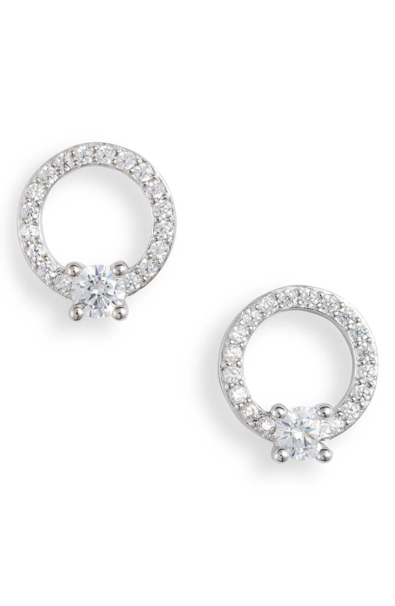 NORDSTROM Pavé Open Circle Cubic Zirconia Stud Earrings, Main, color, CLEAR- SILVER