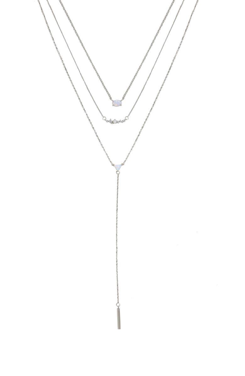 ETTIKA Set of 3 Opal Necklaces, Main, color, SILVER