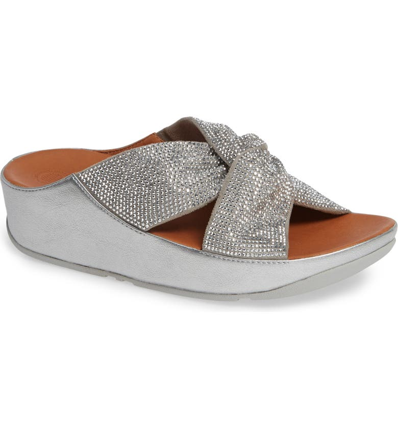 FITFLOP Twiss Crystal Embellished Slide Sandal, Main, color, SILVER