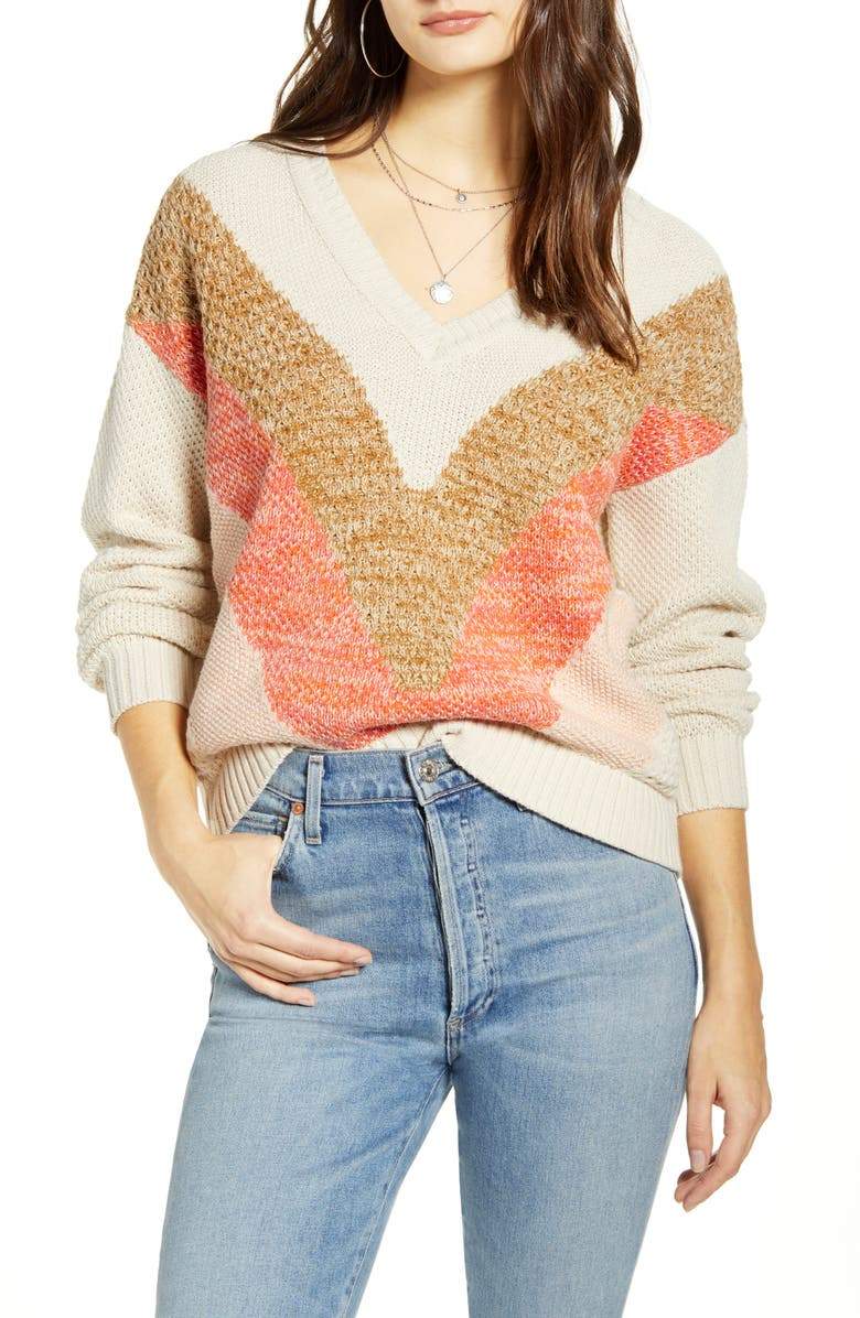 VERO MODA Chevron Sweater, Main, color, BIRCH WITH NOMAD