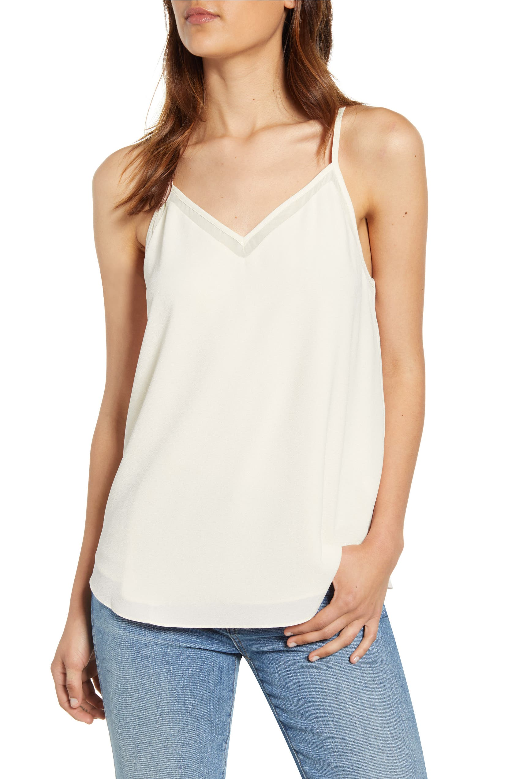 1.STATE Chiffon Inset Camisole in cloud color