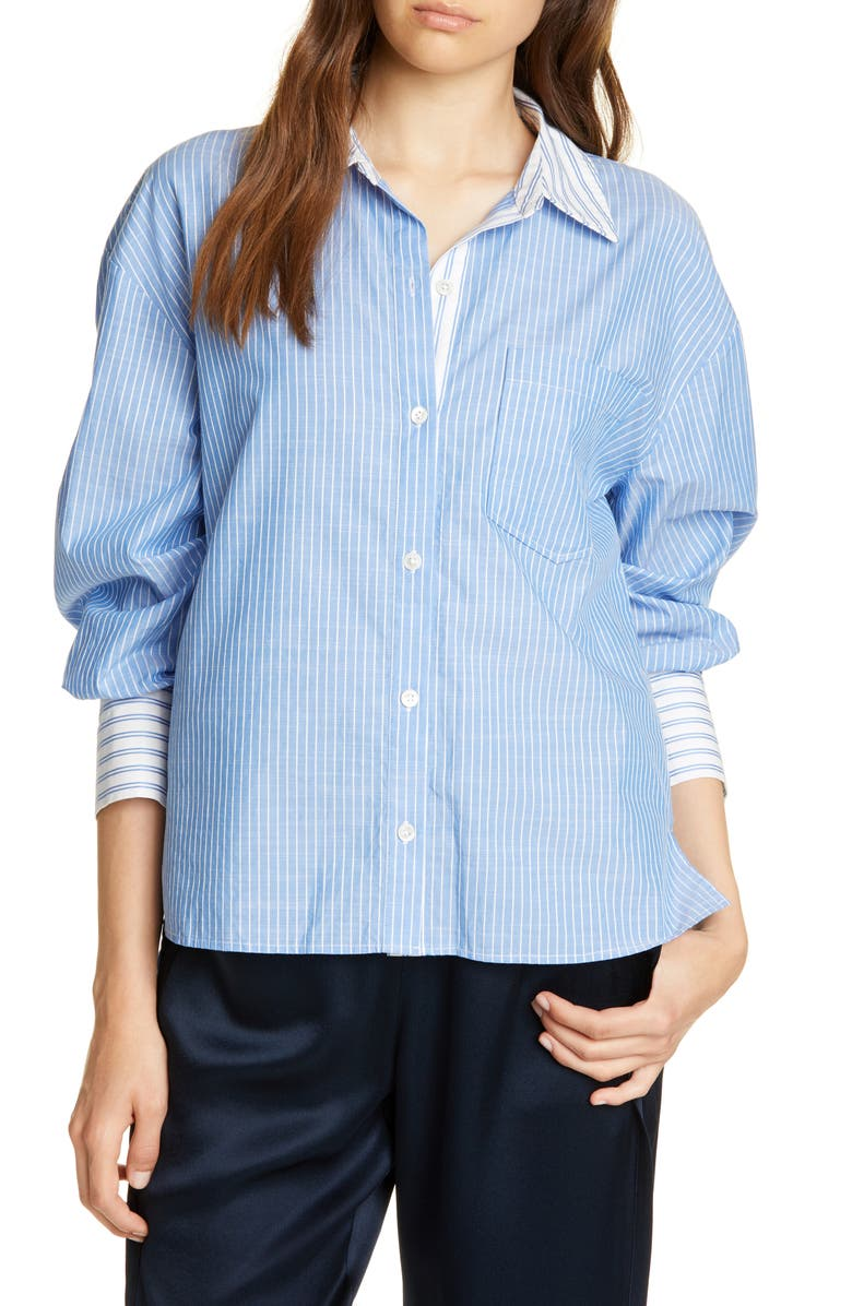 JOIE Drusilla Pinstripe Shirt, Main, color, FRENCH CHAMBRAY