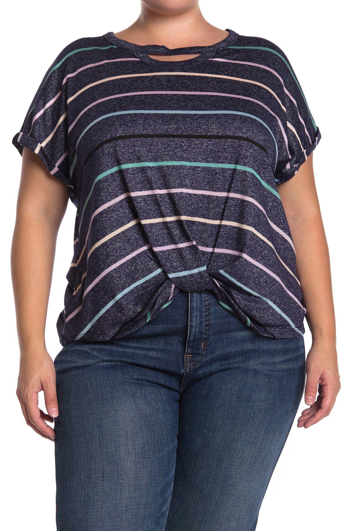 Image of Democracy Striped Keyhole Gathered Hem T-Shirt