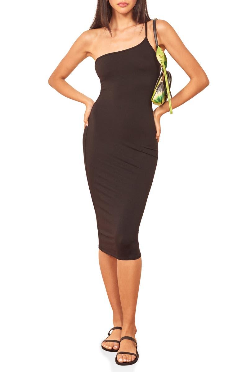 REFORMATION Nova One-Shoulder Body-Con Dress, Main, color, 001