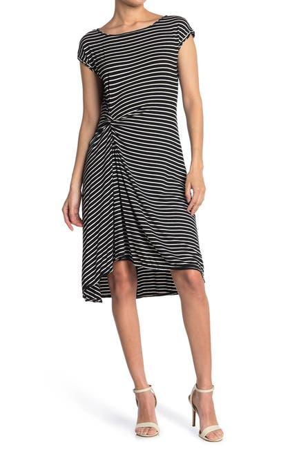 Image of Max Studio Short Sleeve Stripe Print Dress