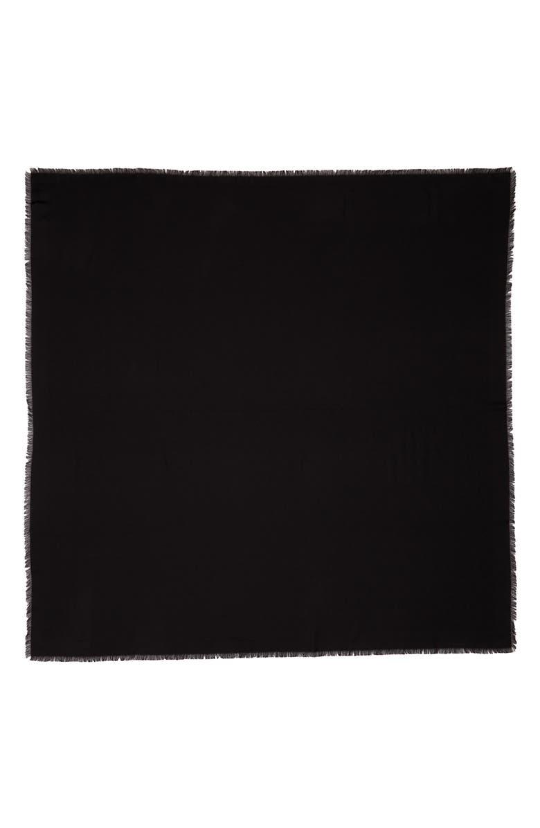 SAINT LAURENT Monogram Jacquard Silk & Wool Scarf, Main, color, NOIR/ NOIR