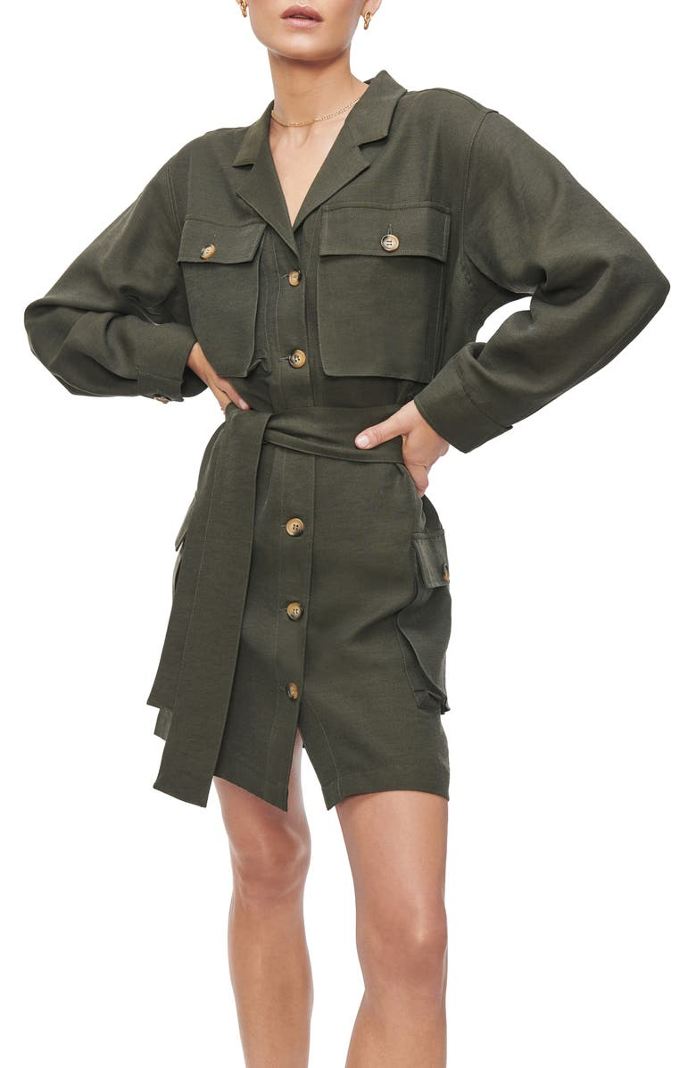 ANINE BING Kaiden Belted Utility Dress, Main, color, WILLOW GREEN