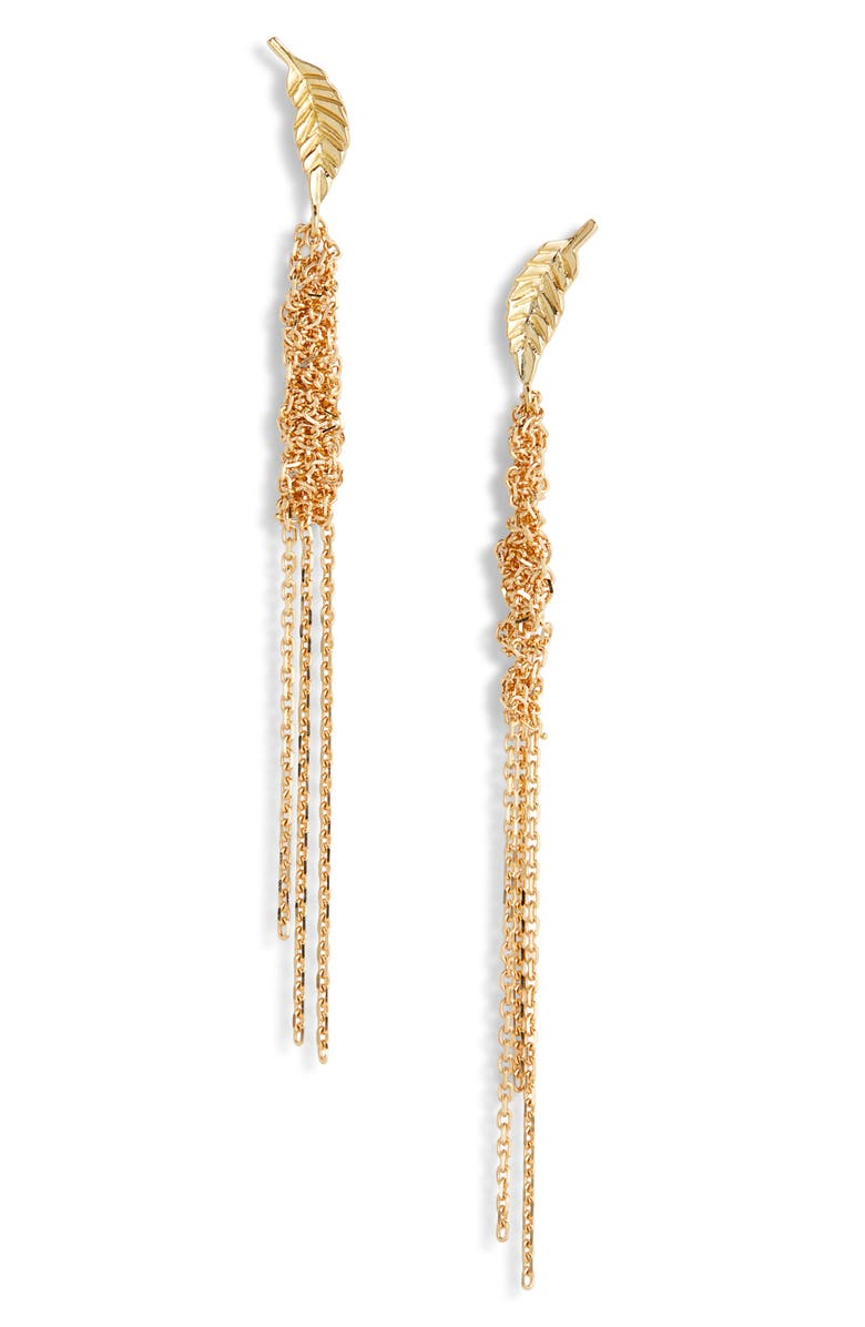 BROOKE GREGSON Waterfall Chain Leaf Earrings, Main, color, GOLD