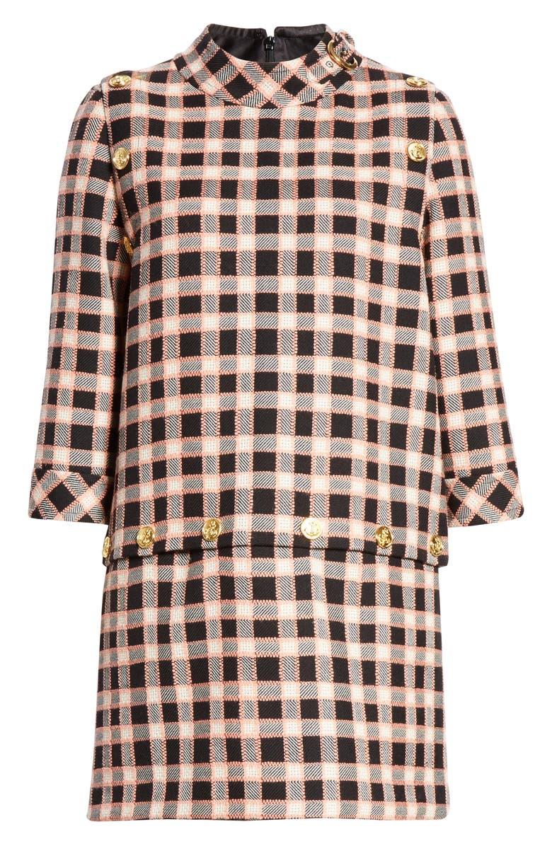 GUCCI Convertible Plaid Wool Shift Dress, Main, color, 003