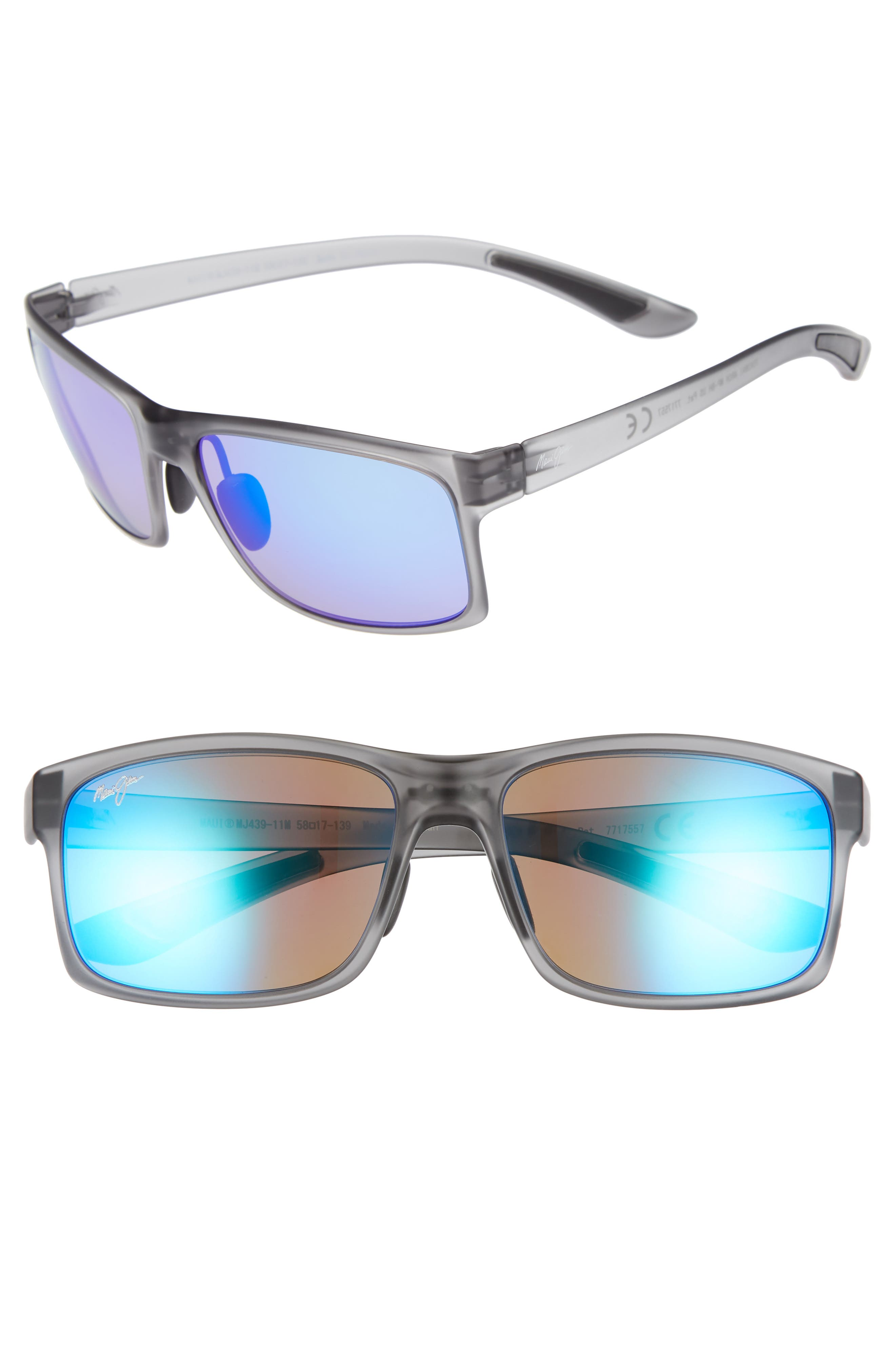 Maui Jim Pokowai Arch 5m Polarized Sunglasses - Translucent Matte Grey/ Blue