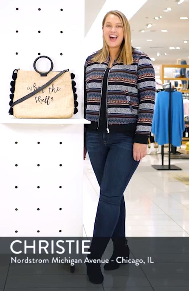 Pompom Trim Embroidered Straw Tote, sales video thumbnail