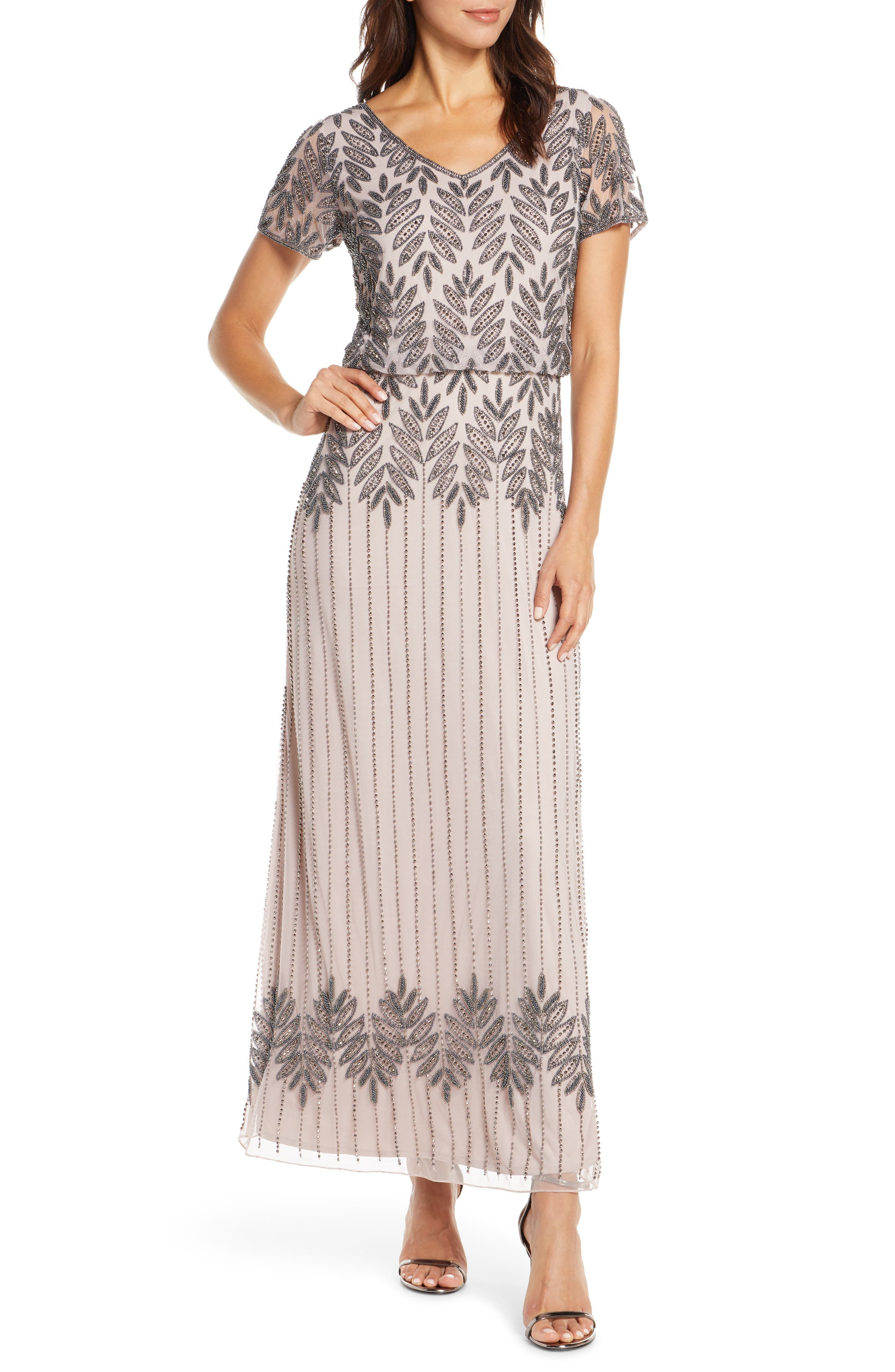 70s Dresses – Disco Dress, Hippie Dress, Wrap Dress Womens Pisarro Nights Beaded Blouson Gown Size 8 - Purple $218.00 AT vintagedancer.com