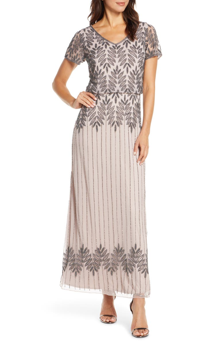 PISARRO NIGHTS Beaded Blouson Gown, Main, color, LIGHT LILAC