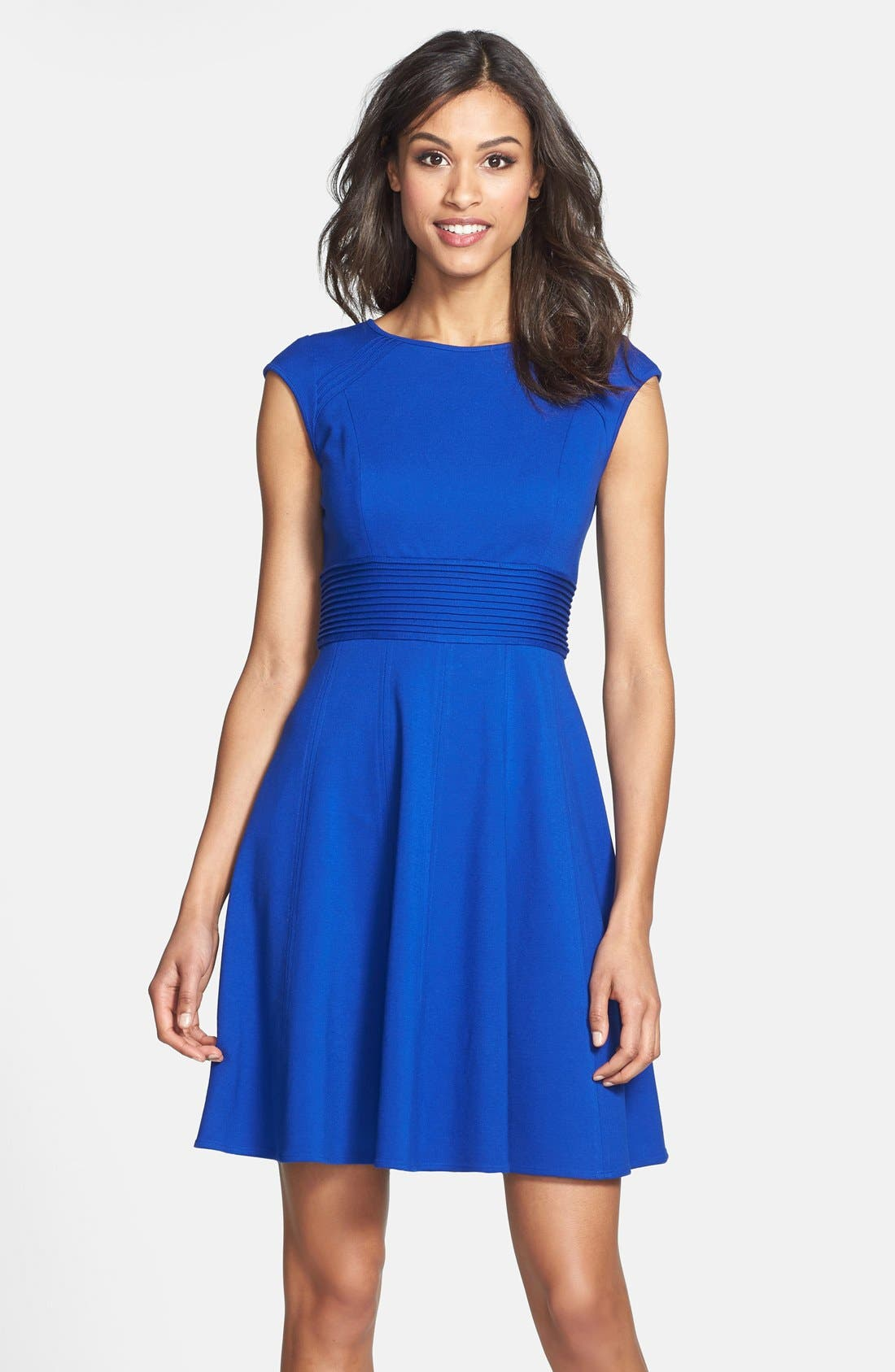 ,                             Pintucked Waist Seamed Ponte Knit Fit & Flare Dress,                             Main thumbnail 20, color,                             430