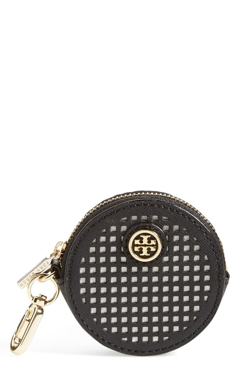 TORY BURCH 'Robinson' Key Chain Coin Pouch, Main, color, 001