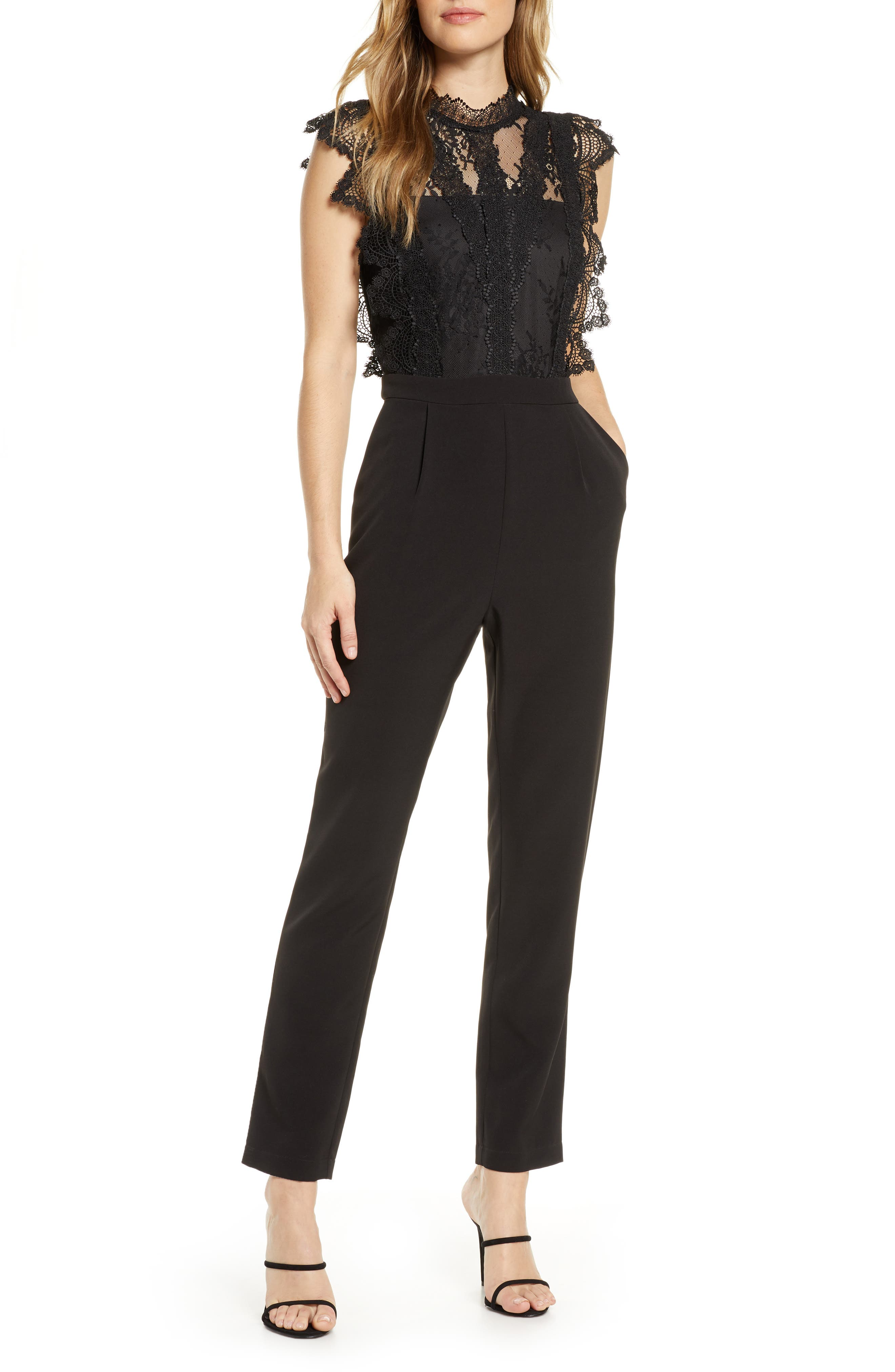 Image of Adelyn Rae Madeline Scalloped Lace Jumpsuit
