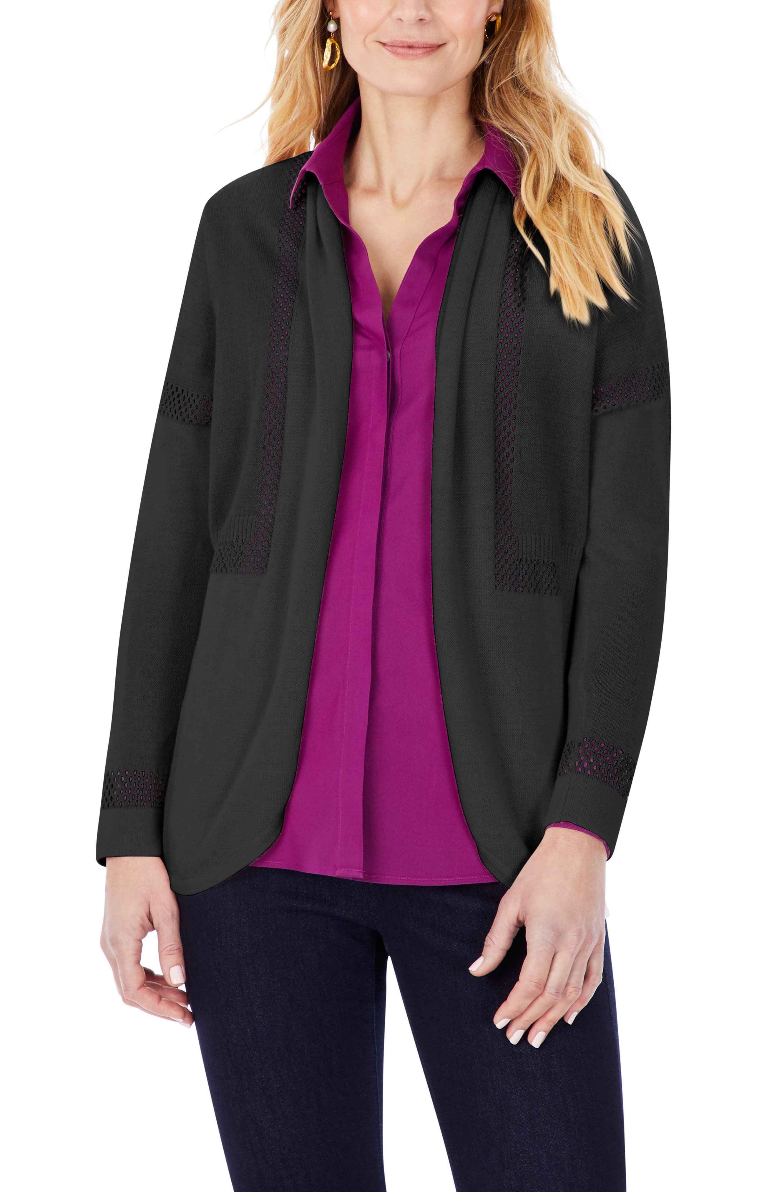 Pointelle Inset Open Front Cardigan