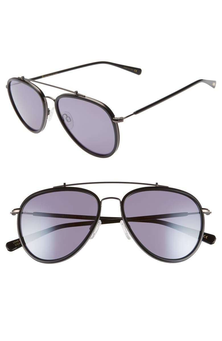D'BLANC The Last 57mm Aviator Sunglasses, Main, color, BLACK SNAKE GRAY