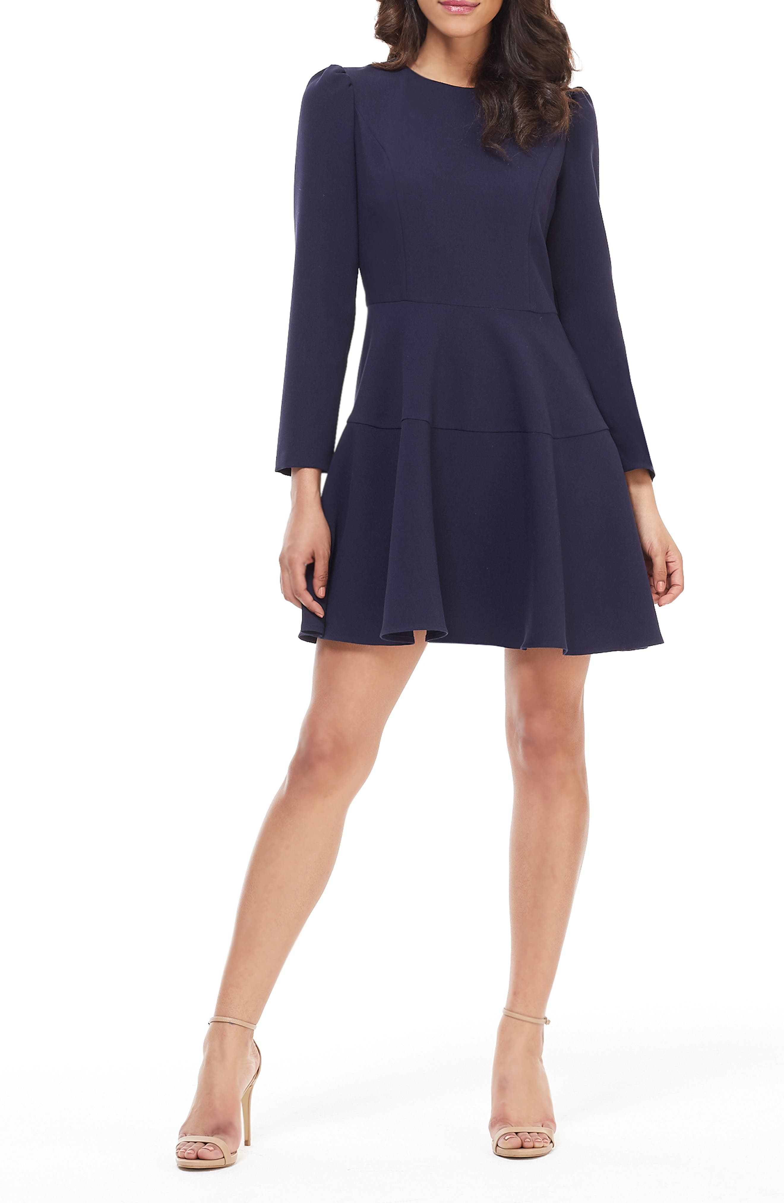 Gal Meets Glam Collection Celeste Fit & Flare Dress, 0 (similar to 16W-18W) - Blue