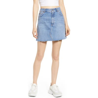 Topshop Frayed Hem Miniskirt, US (fits like 0) - Blue