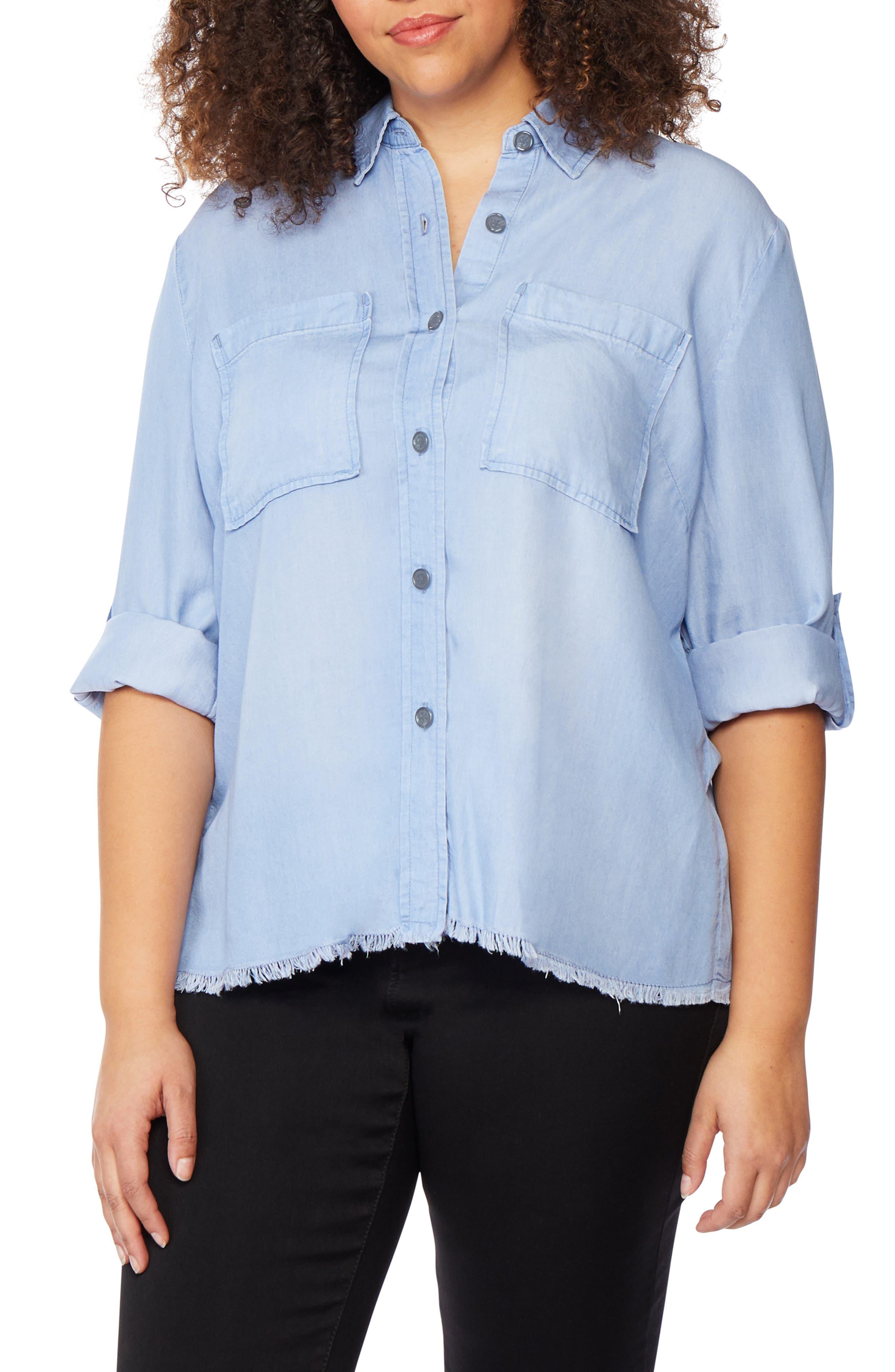 Frayed Hem Button Front Shirt, Main, color, BAYSIDE