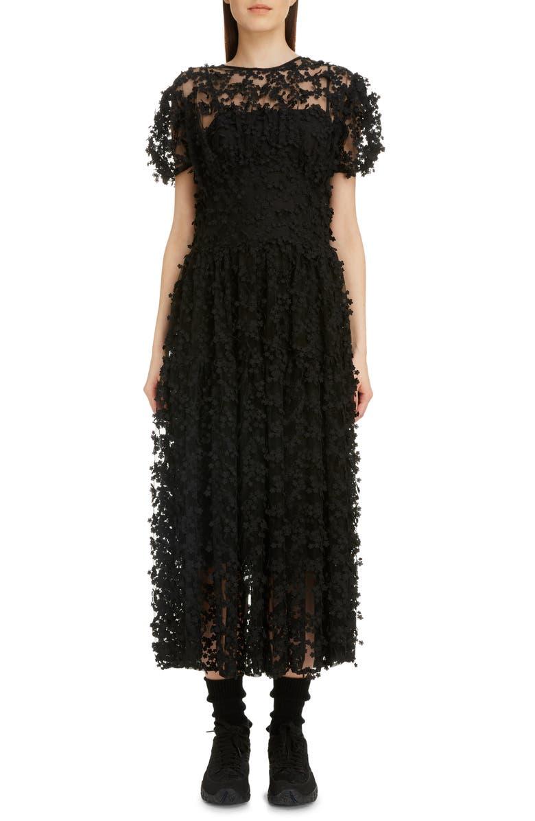 CECILIE BAHNSEN Tia Floral Tulle Midi Dress, Main, color, BLACK