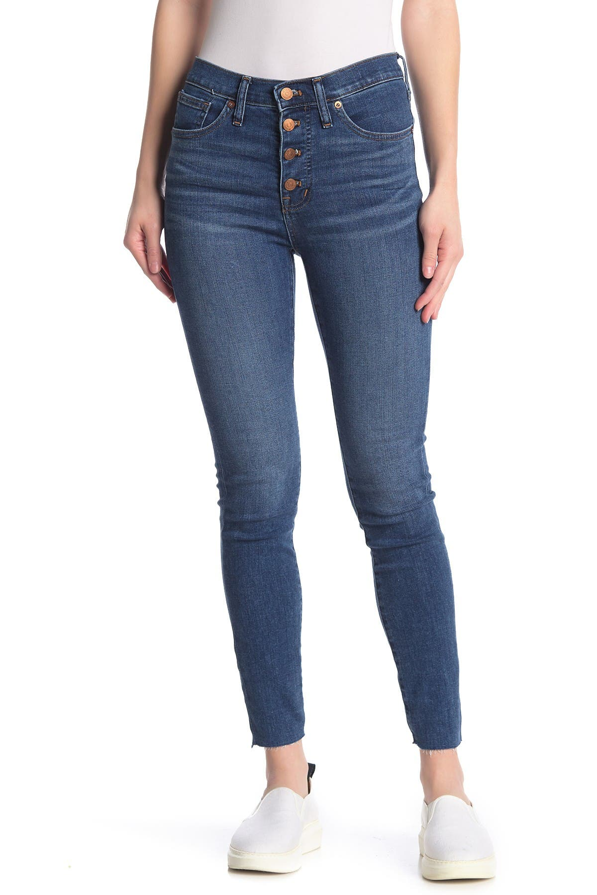 Image of Madewell Button Fly Mid Rise Skinny Jeans