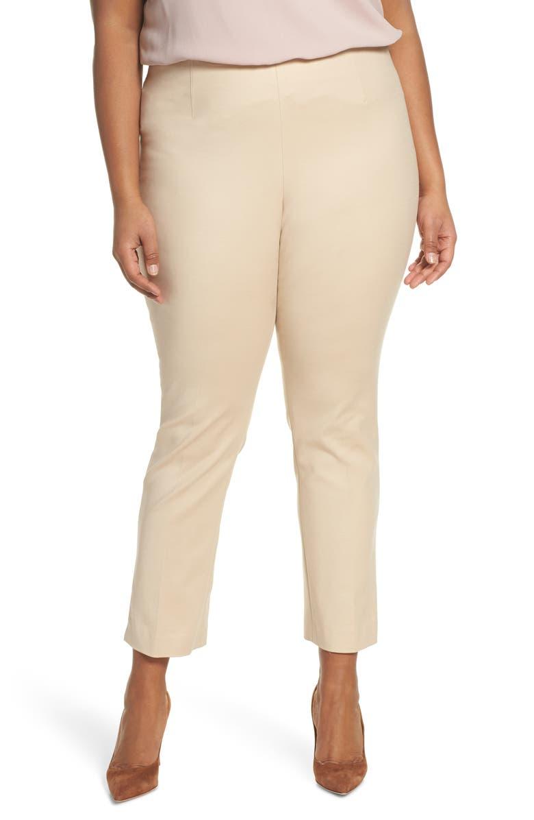 VINCE CAMUTO Ankle Vent Crop Cotton Blend Pants, Main, color, TIRAMISU