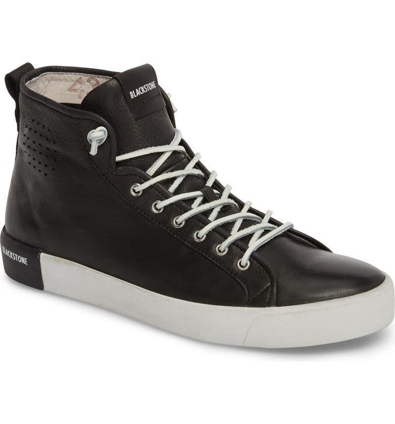 BLACKSTONE PM43 Slip-On High Top Sneaker, Main, color, BLACK LEATHER