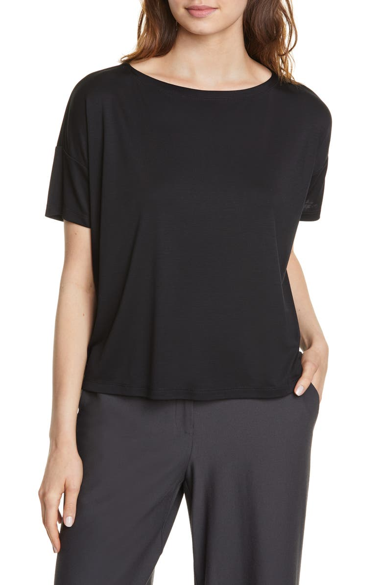 EILEEN FISHER Tencel<sup>®</sup> Lyocell Top, Main, color, BLACK