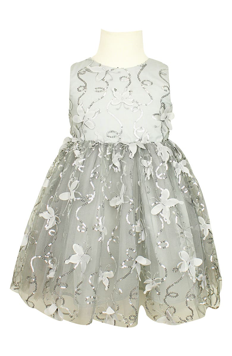 POPATU Butterfly Sequin Tulle Party Dress, Main, color, SILVER/ BLACK