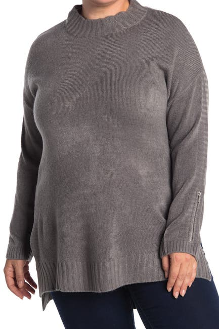 Image of One A Mock Neck Dolman High/Low Tunic Sweater