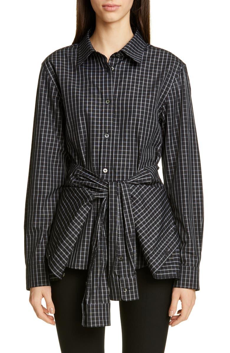 ALEXANDER WANG Plaid Tie Waist Poplin Shirt, Main, color, BLACK PLAID