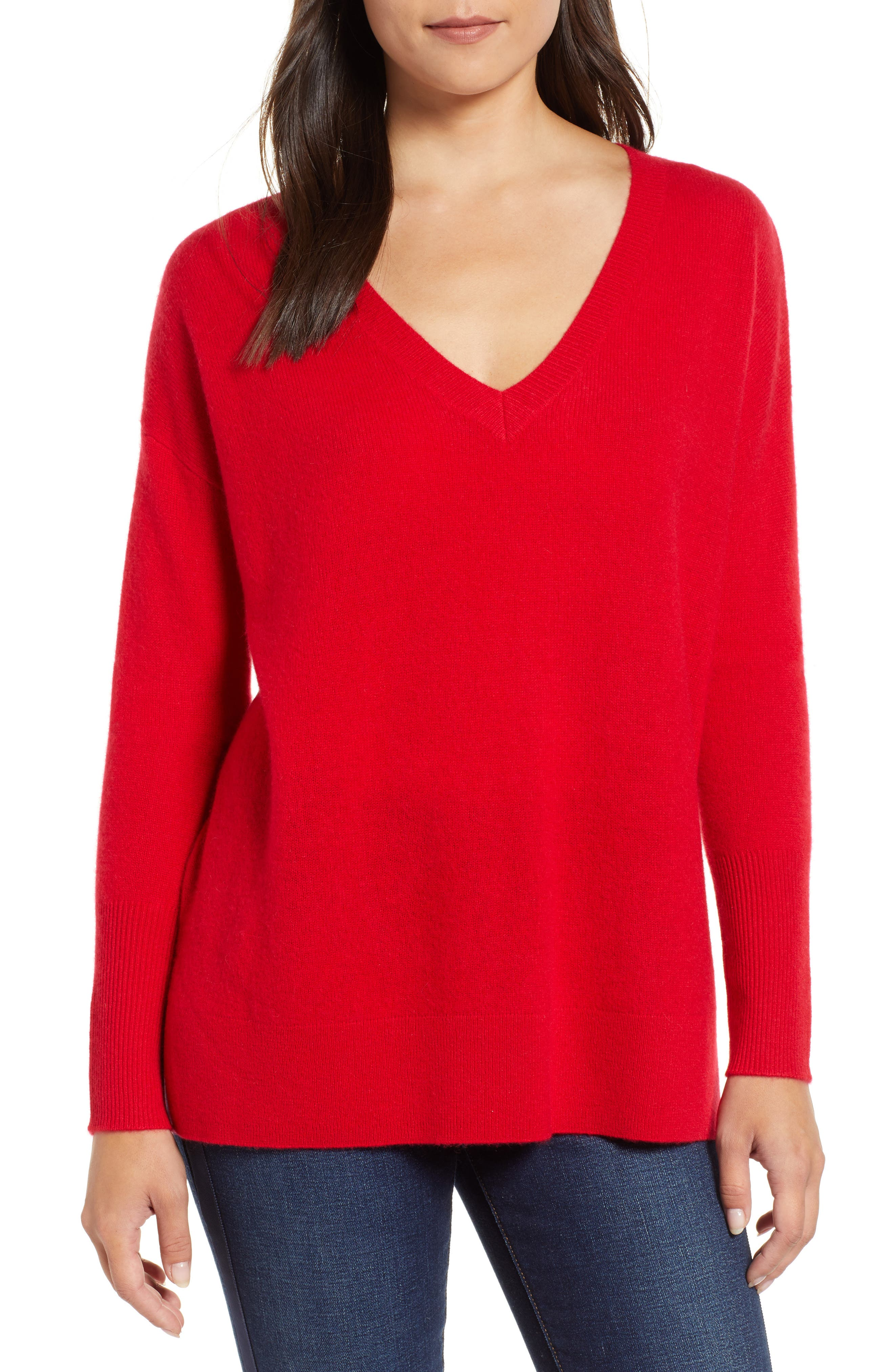,                             Relaxed V-Neck Cashmere Sweater,                             Main thumbnail 57, color,                             610
