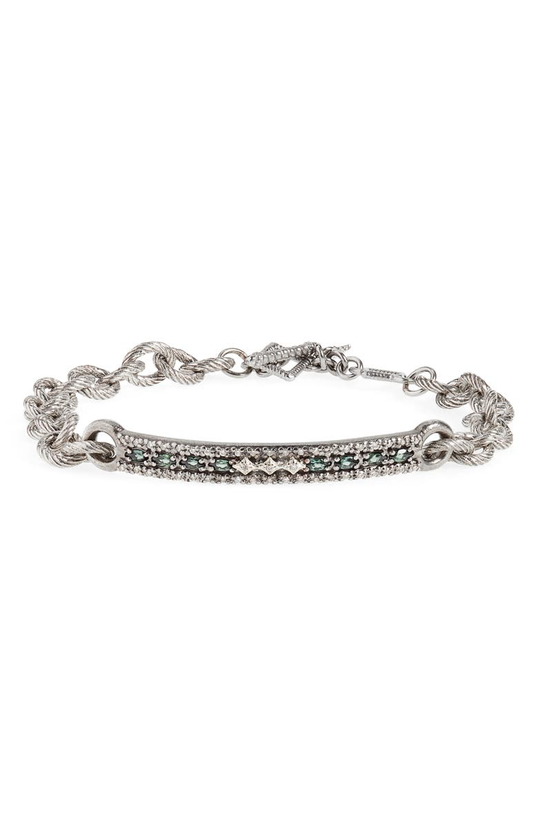ARMENTA Old World Diamond & Tourmaline Bracelet, Main, color, DIAMOND/ GOLD/ SILVER