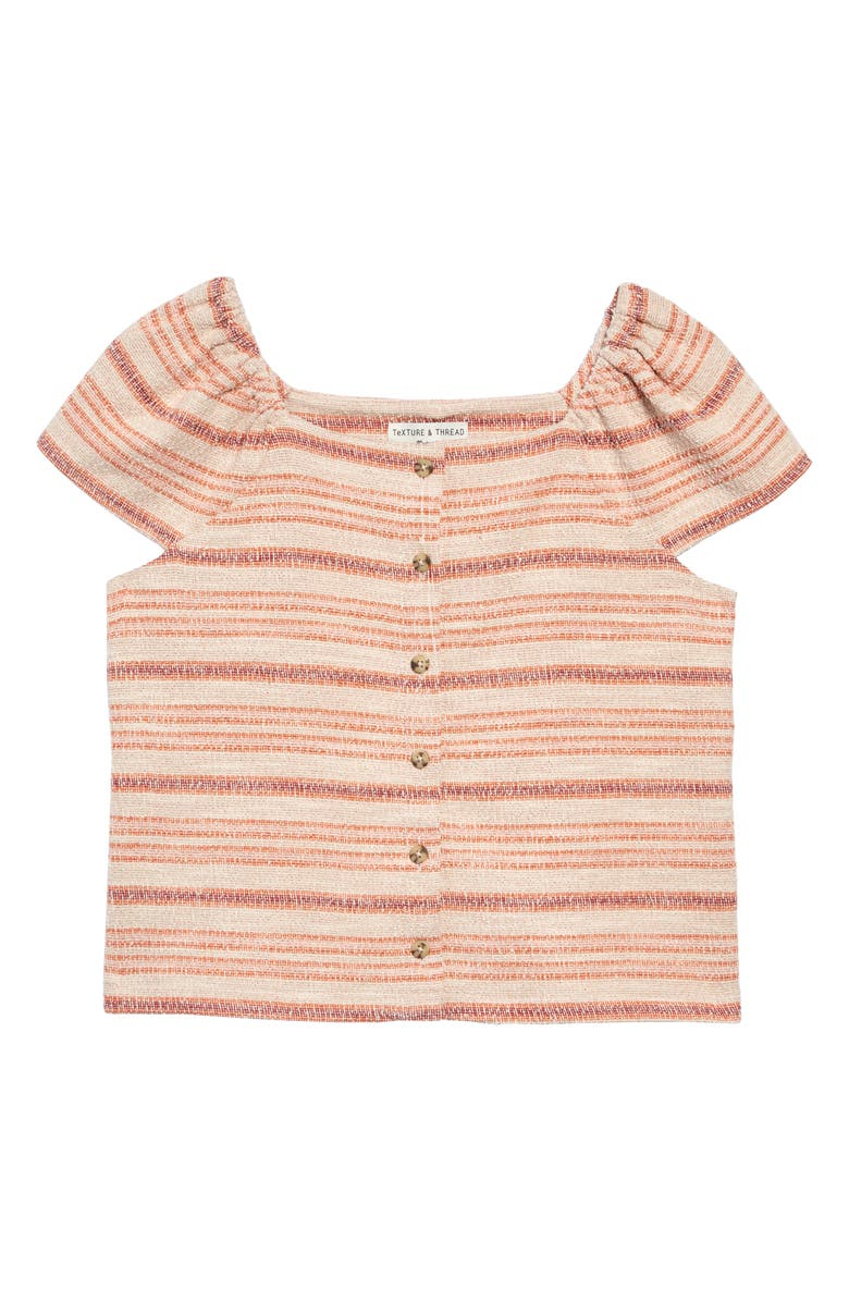 MADEWELL Texture & Thread Stripe Button Front Top, Main, color, 650